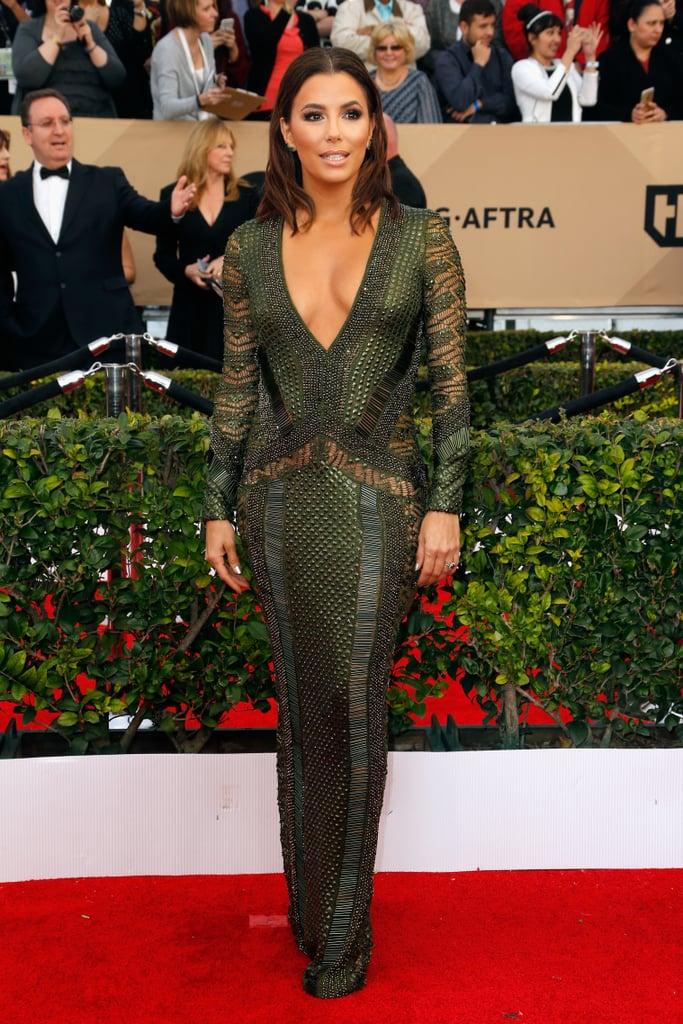 Eva Longoria in a sheer Julian Macdonald dress.