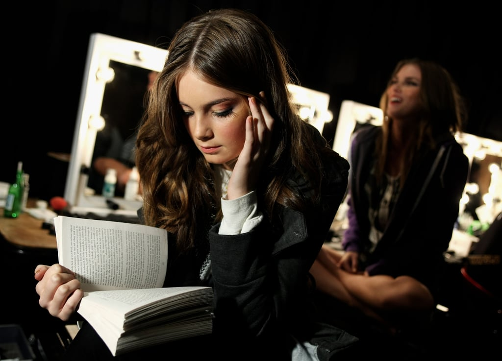 This model was in the zone with her book backstage at the Illionaire show during Rosemount Australian Fashion Week for Spring/Summer 2008/09.