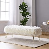 Ornavo Home Modern Contemporary Faux Fur Long Bench