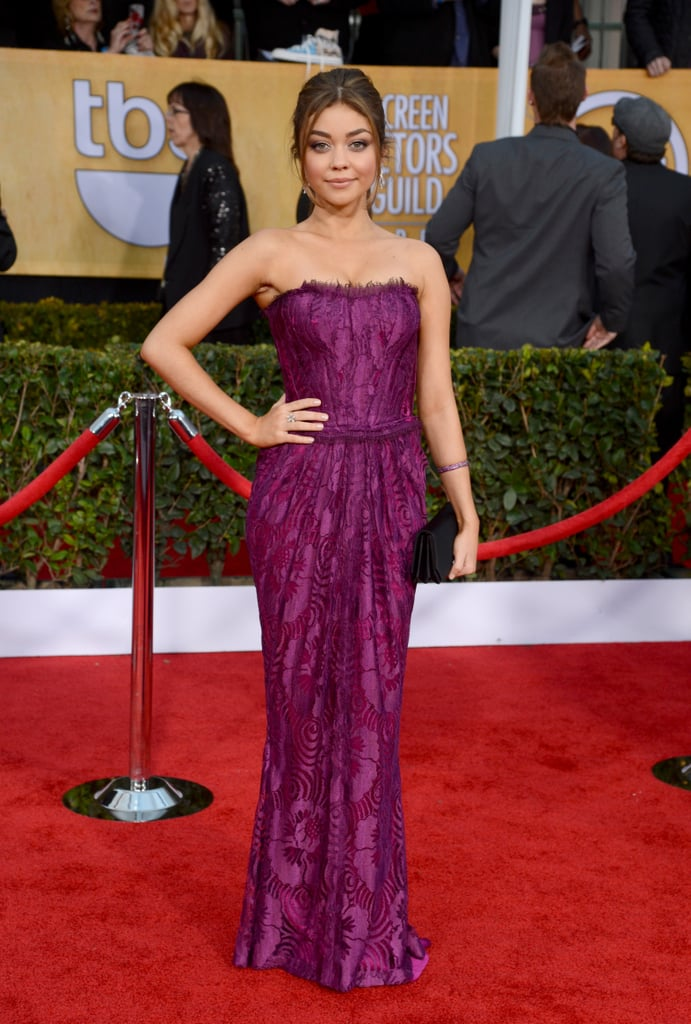 Sarah Hyland oozed sophistication in a strapless purple Dolce & Gabbana gown, a swept ponytail and natural make-up.