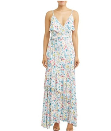 Faux Wrap Front Maxi Dress