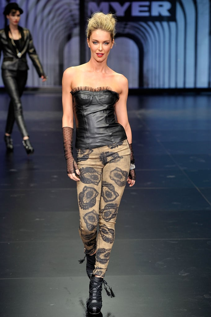 Looking hot in leather on the runway for Myer in Mar. 2010.