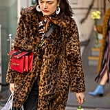 Style Your Leopard-Print Coat With: A Printed Top, Jeans, Bright Bag, and Statement Earrings