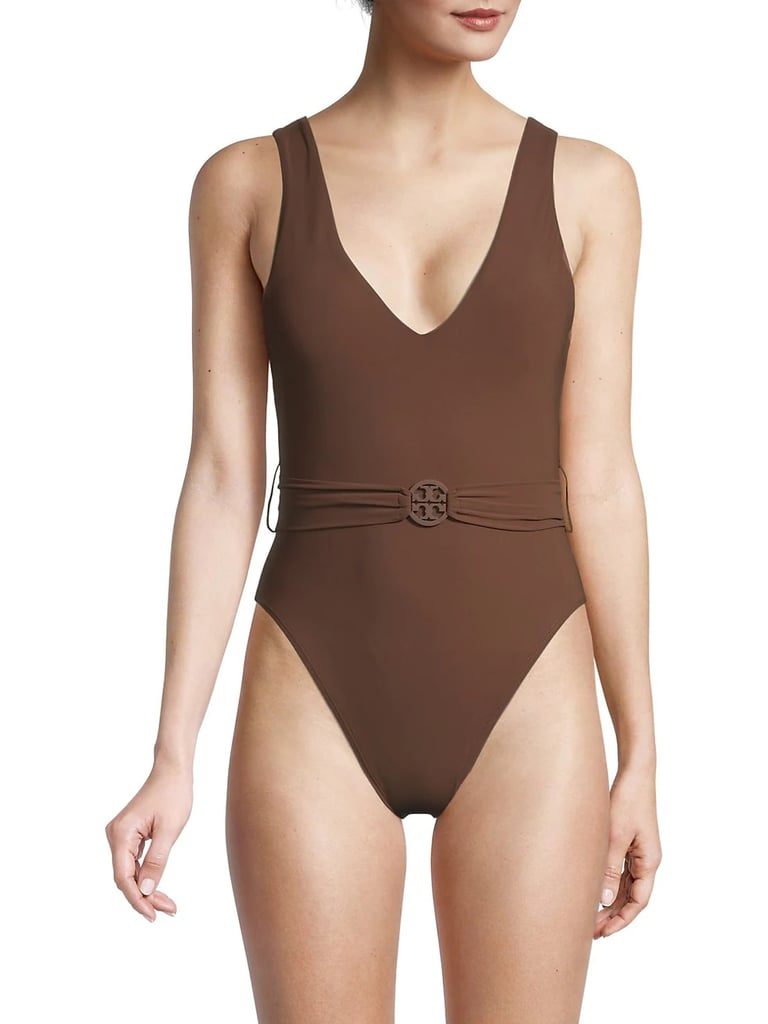 Tory Burch Miller Belted One-Piece Swimsuit