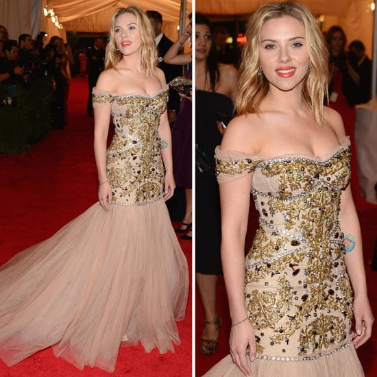 Pictures of Scarlett Johansson in Dolce & Gabbana Gown on the Red Carpet at the 2012 Met Costume Institue Gala