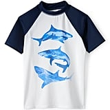 Lands' End Little Boys Raglan Colorblock Graphic Rash Guard-Sharks