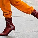 Gigi Hadid Red Snakeskin Boots From Mango