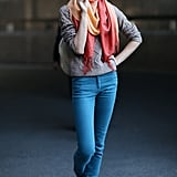 Simplified denim with a silky scarf isn't so simple anymore.