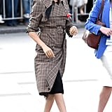 Meghan Markle Work Outfit Idea: A Plaid Belted Trench Coat