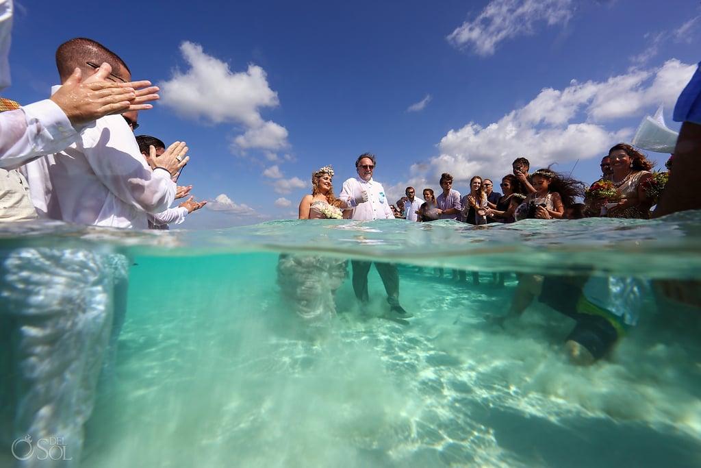 Wedding on a Sandbar in Caribbean Sea