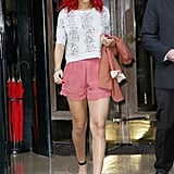 The star departed her Parisian hotel in sweet rosy scalloped shorts in 2010.