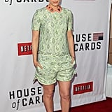 Kate Mara celebrated House of Cards in a printed top-and-shorts set by Mulberry, which she dressed up with leg-lengthening nude heels.