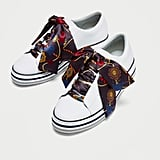 Zara Leather Plimsolls With Bows