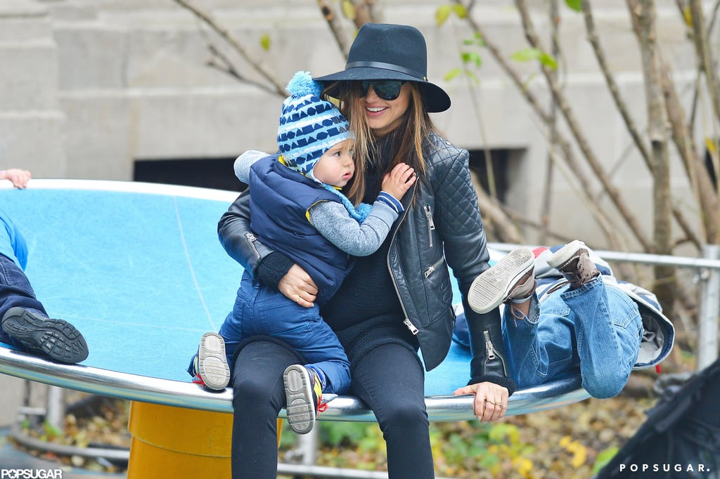 Miranda Kerr took her son, Flynn, to a park in NYC on Sunday, though later in the afternoon they were spotted taking off from JFK. Miranda and Flynn checked out the different structures for kids, and even in her fashionable outfit and high heels, Miranda was happy to climb into the small spaces with her son. Miranda and Flynn have been in the Big Apple for the past month or so, starting with her starring role in the 2012 Victoria's Secret Fashion Show, which airs on Tuesday. Miranda's husband and Flynn's dad, Orlando Bloom, has been busy shooting a movie in South Africa while his family takes care of business in Manhattan.