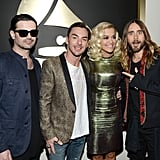 Jared Leto and Thirty Seconds to Mars with Rita Ora at the 2014 Grammy Awards.