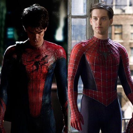 Picture of Andrew Garfield as Spider-Man and Tobey Maguire as Spider-Man