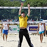 Harry showed some skin playing beach volleyball.