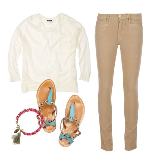 Go casual in caramel with a pair of skinny pants and a lightweight white sweater. Bring some color into the mix with printed flat sandals and a fun, hippie-chic friendship bracelet.  Club Monaco Kelly Sweater ($99), MiH Oslo Jeans ($264), K Jacques St. Tropez Buffon Sandals ($270), Isabel Marant Summertime Tassel Bracelet ($160)