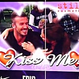 David Beckham and Victoria Beckham on the Kiss Cam at the Lakers.