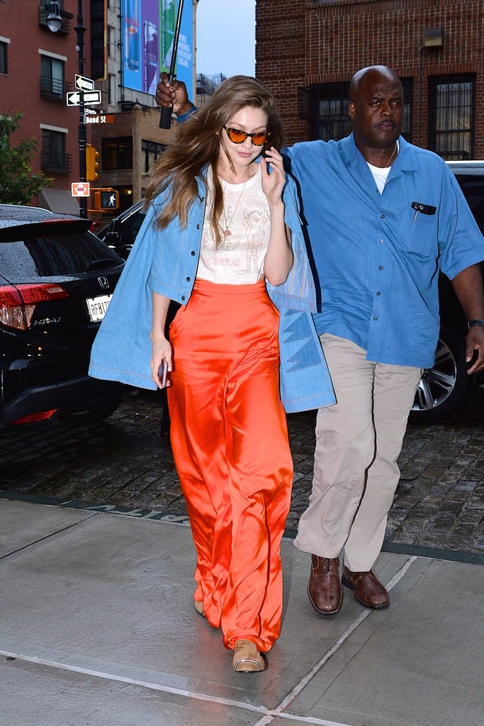 """Is Gigi Hadid's graphic t-shirt trying to tell us something? It would appear so. During a recent outing, the model paired red silk Christian Siriano trousers with a cropped denim jacket and a distressed shirt that read, """"Take good care of me! I'm hard to replace.""""   In addition to its confident slogan, the t-shirt also features a fun drawing of a girl in a polka-dot-printed ensemble. The extremely worn-in tee is also the latest in a series of seemingly vintage and nostalgia-inducing clothing items Gigi has been sporting. While Gigi has been steadily dating Zayn Malik for well over a year now, perhaps she also meant for the top to serve as a subtle nudge to her boyfriend. (Wink, wink.) Ahead, see pictures of Gigi's intriguing shirt selection and shop similar vintage-inspired graphic t-shirts.       Related:                                                                                                           Gigi Hadid Owns This Adorable Summer Bag in 3 Colors"""