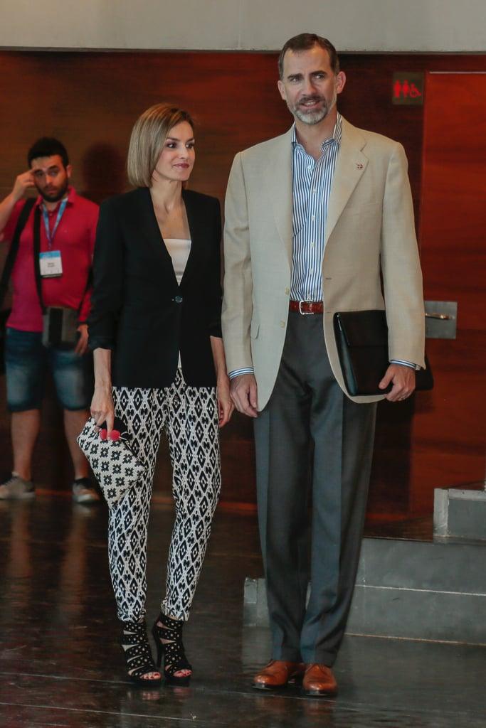 Queen Letizia wearing Hugo Boss pants.