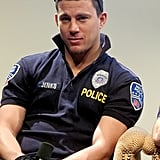 Channing Tatum arrived in his official police uniform.