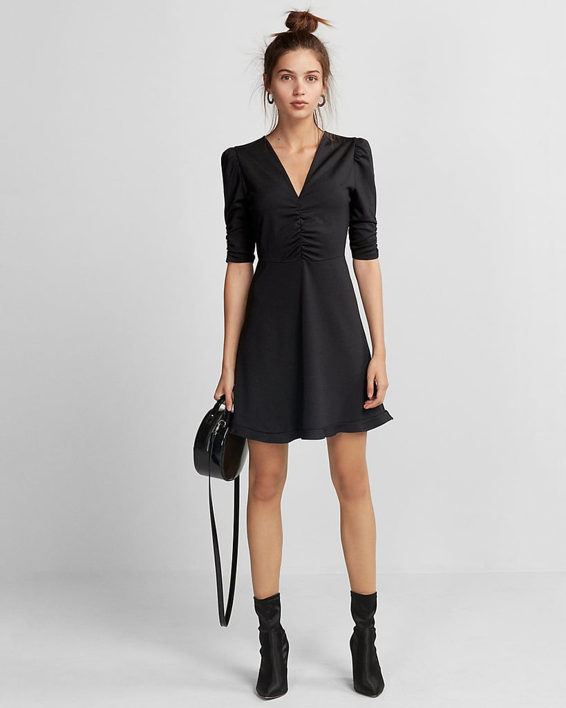 Express Deep V-Neck Ruffle Hem Fit-and-Flare Dress