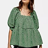 Lime Green Neon Check Chuck On Blouse