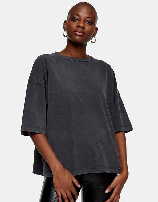 Topshop Oversize T-Shirt in Washed Black