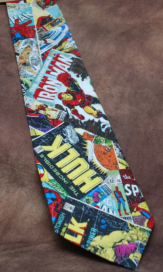 """<a href=""""https://www.etsy.com/listing/174085289/marvel-comics-neck-tie"""">Marvel Comic-Book Covers Tie</a> ($33)"""
