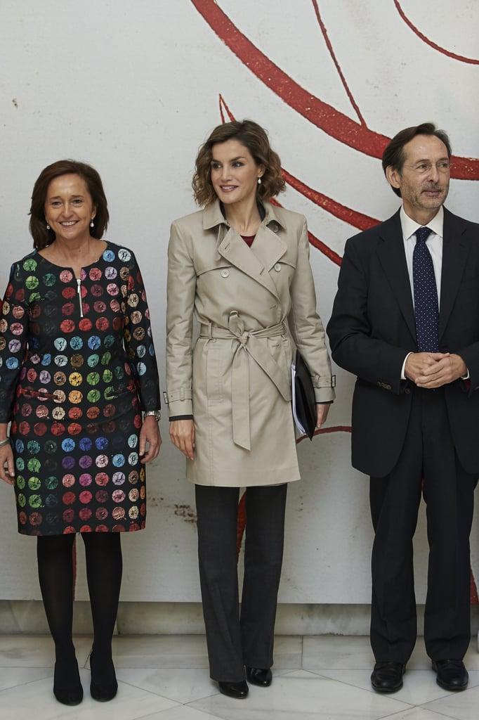 Queen Letizia Wearing a Trench Coat in Madrid