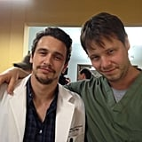 Barinholtz stopped for a photo op when Franco was on the set. Source: Twitter user ikebarinholtz