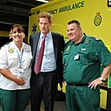 Prince Harry with Salford, England, emergency workers.
