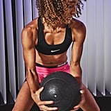 Bench Squats With a Medicine Ball