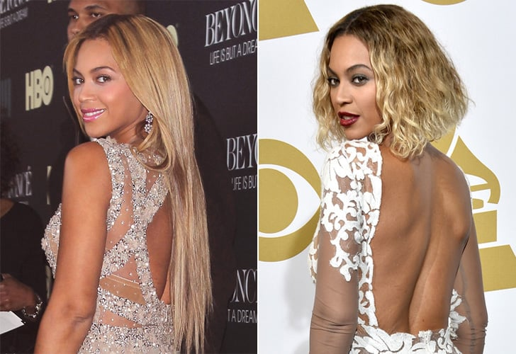 Beyoncé: Long hair with blonde and brunette highlights to ombre bob.