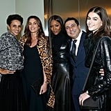 Farida Khelfa, Cindy Crawford, Naomi Campbell, Azzedine Alaïa's cousin Montassar Alaïa, and Kaia Gerber attended an exhibit in honor of the late fashion designer during Paris Fashion Week on Jan. 21, 2018.