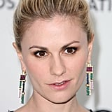 Anna Paquin added art-deco inspired flair to her look with these multi-hued geometric drop earrings.