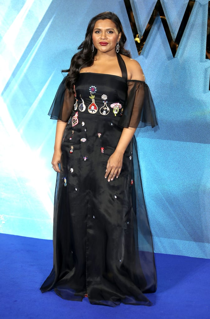 For the European premiere of A Wrinkle in Time in March 2018, Mindy slipped into this Temperley London halter dress with embellishments and chiffon sleeves.