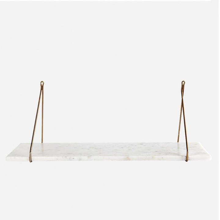Graham and Green White Marble Shelf With Brass Bracket