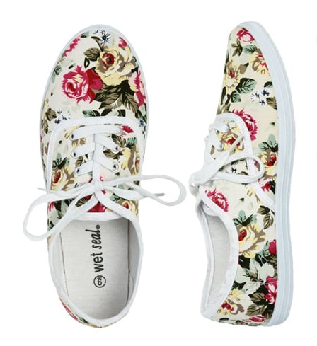 These kickback sneakers are far from boring, we adore the vintage rose print pattern.  Wet Seal Floral Tennis Shoes ($15)