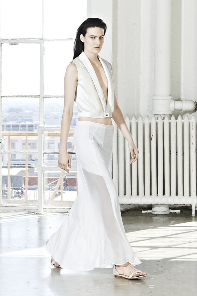 White on white is guaranteed to give you a fresh Spring feel, especially when it's as unique as this white maxi skirt and white vest.