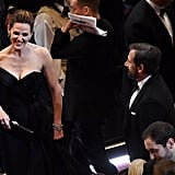 Single and fabulous Jennifer Garner shared a laugh with Steve Carell.