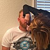 Kids Putting Makeup on Dad