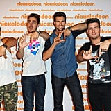 Big Time Rush posed on the red carpet ahead of the event.