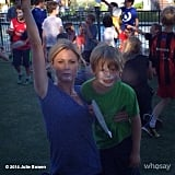 Julie Bowen won the messiest face in the mother/son whipped cream contest. Source: juliebowen on WhoSay