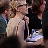 Cate wore her glasses while watching the show.