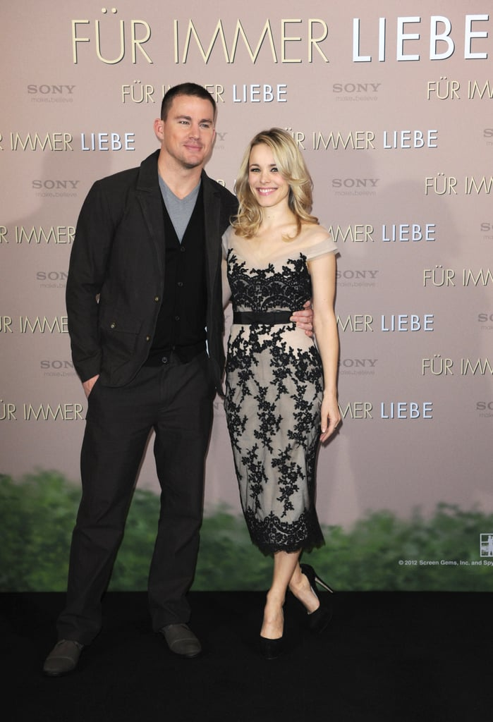 Channing Tatum and Rachel McAdams teamed up for a photo call supporting their movie The Vow in Munich today. The costars are just kicking off a European press tour in support of the movie, which opens in the US in three weeks on Feb. 10. Channing and Rachel just wrapped up a few days in London. While in the UK, they stopped to do interviews at various BBC channels and Rachel wore a cute coat from The Row. We'll get to see Rachel and Channing's romantic movie next month, but he's also on the big screen in a new picture today. His Steven Soderbergh-directed film is out, and the Haywire reviews are so far quite good!