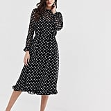 Y.A.S Polka-Dot Sheer Midi Dress