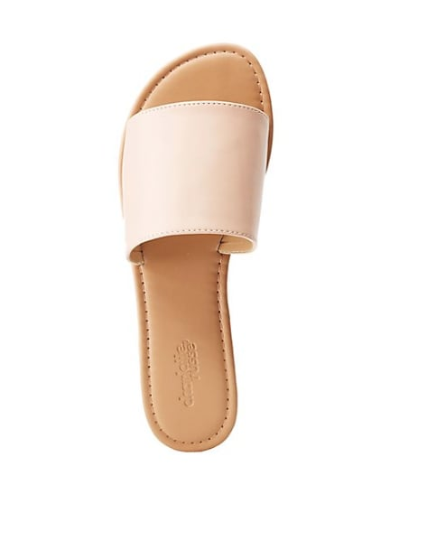 Faux Leather Band Slide Sandals