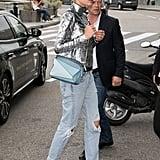 Doutzen Kroes Carrying a Blue Loewe Puzzle Handbag